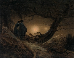 Two-men-contemplating-the-Moon